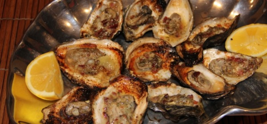 Grilled Oysters with Spicy Garlic